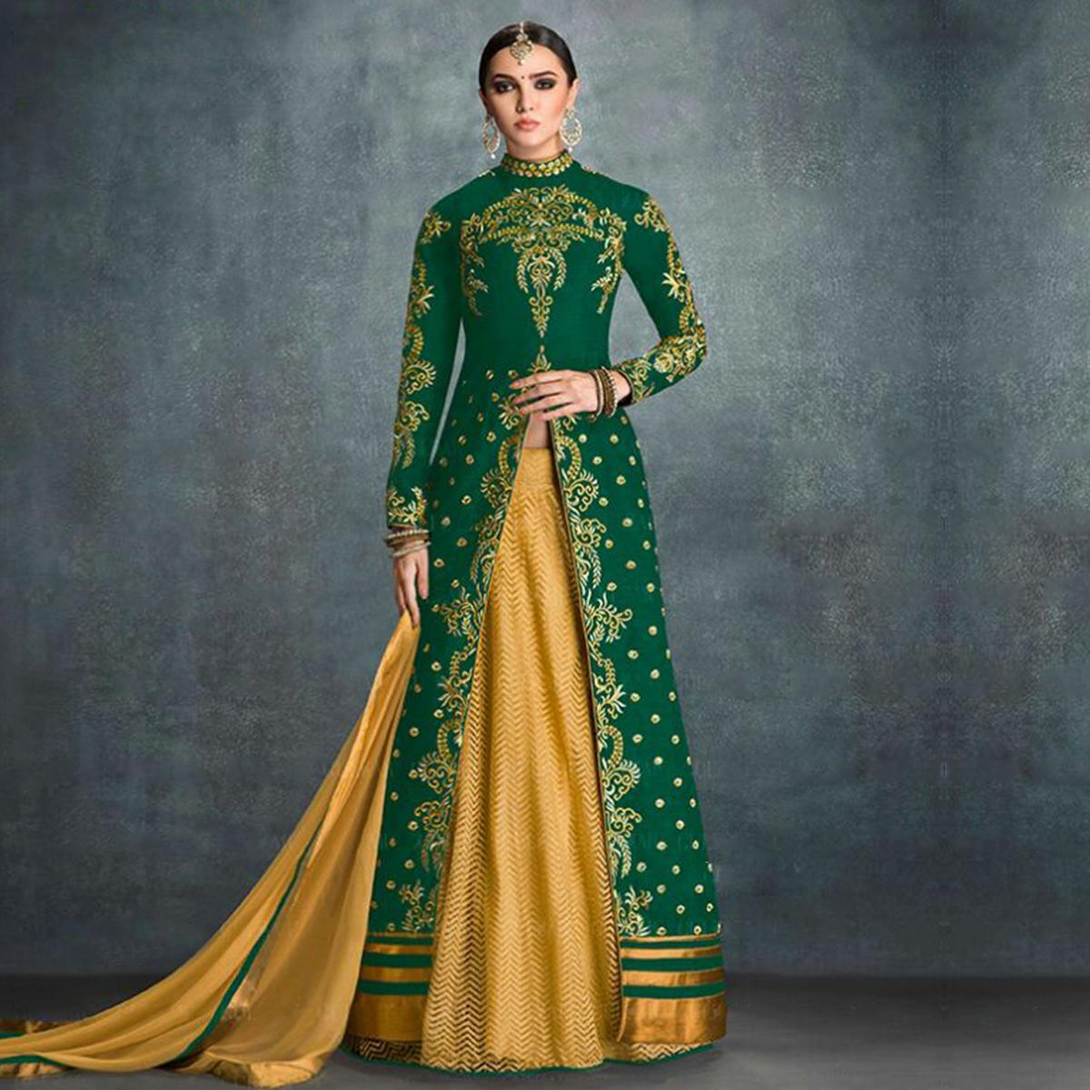 Dazzling Green High Neck Anarkali Suit