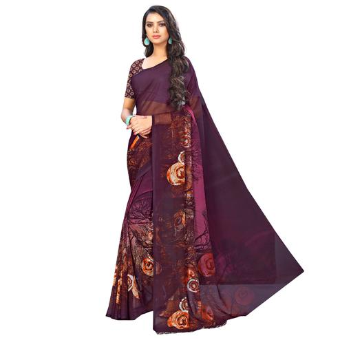 Refreshing Dark Purple Colored Casual Wear Printed Chiffon Saree