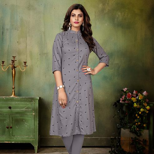 Excellent Grey Colored Casual Wear Printed Cotton Kurti