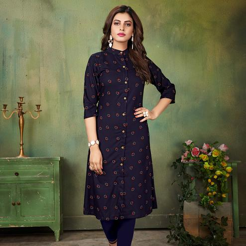 Preferable Navy Blue Colored Casual Wear Printed Cotton Kurti