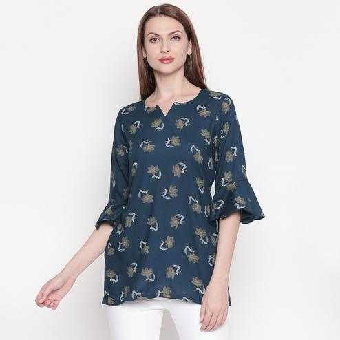 Elegant Peacock Green Colored Casual Wear Floral Printed Cotton Top