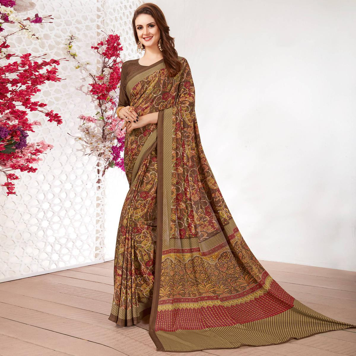 Adorable Brown Colored Casual Wear Printed Crepe Saree