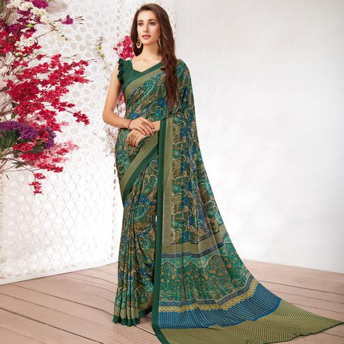 Glorious Green Colored Casual Wear Printed Crepe Saree