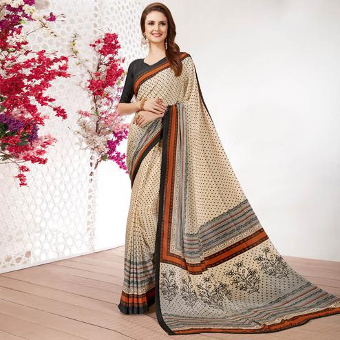 Attractive Beige Colored Casual Wear Printed Crepe Saree