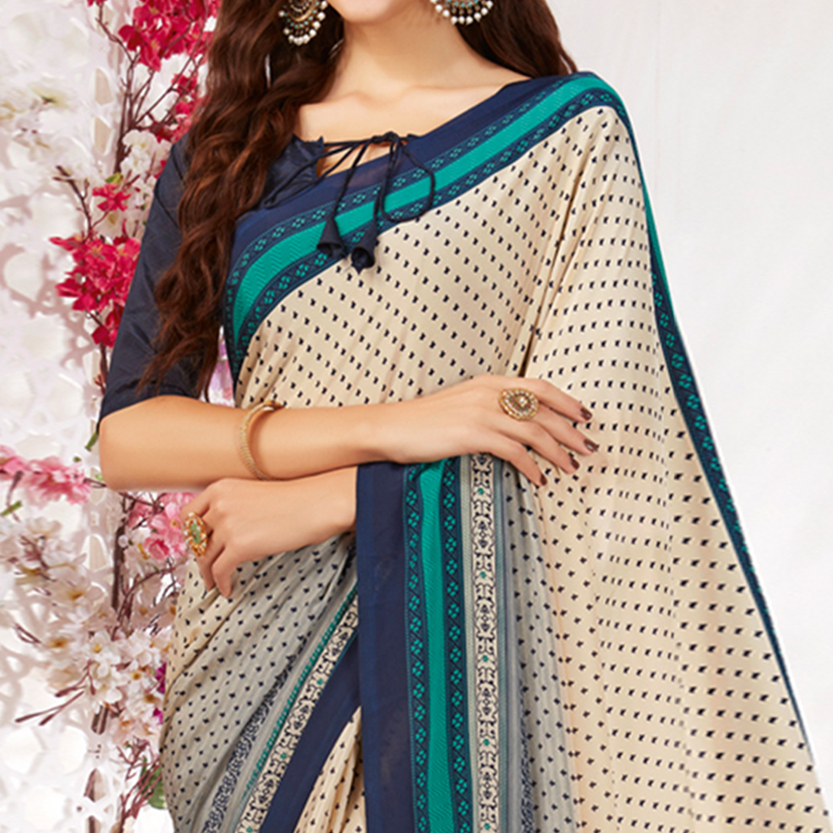 Beautiful Beige Colored Casual Wear Printed Crepe Saree