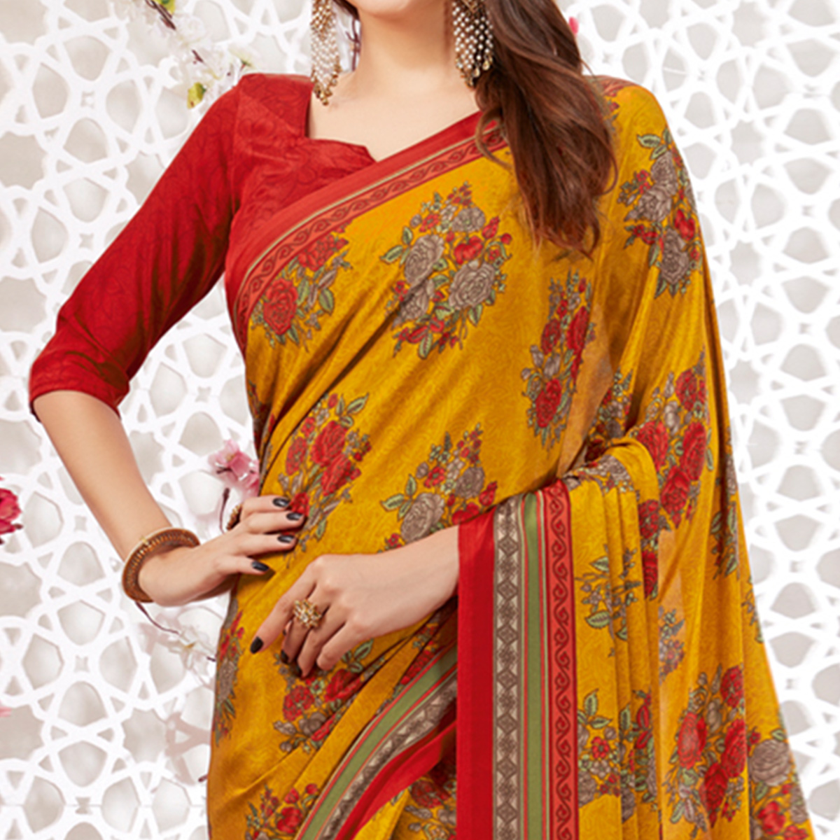 Graceful Mustard Yellow Colored Casual Wear Printed Crepe Saree