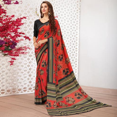 Blooming Red Colored Casual Wear Printed Crepe Saree