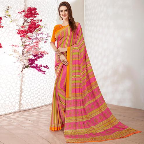 Jazzy Pink Colored Casual Wear Printed Crepe Saree