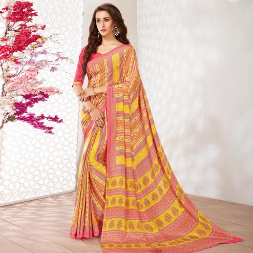 Delightful Yellow Colored Casual Wear Printed Crepe Saree