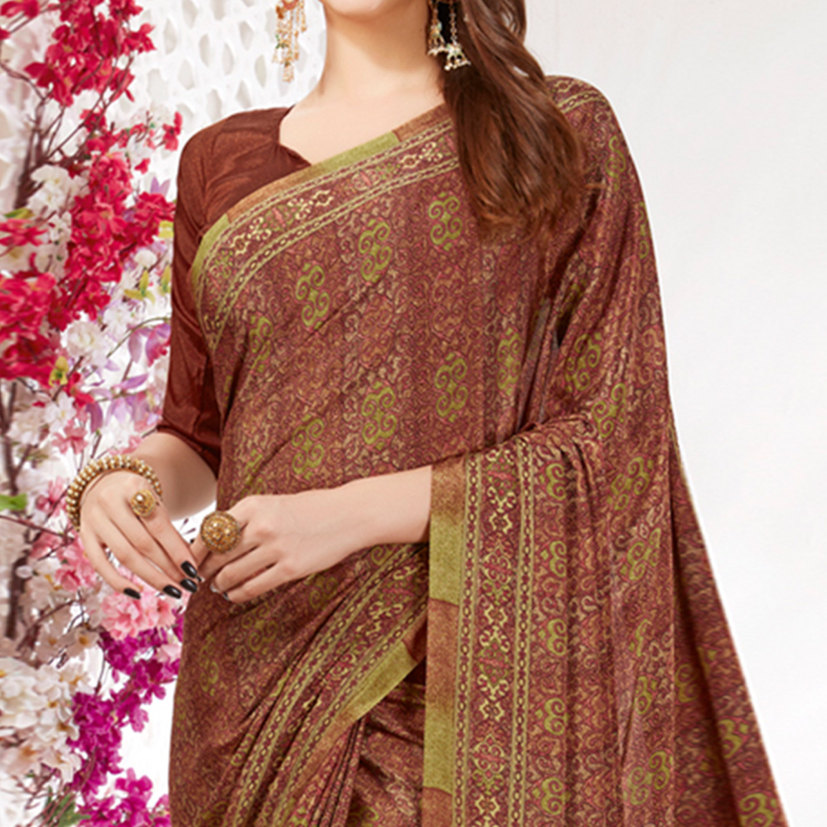 Engrossing Brown Colored Casual Wear Printed Crepe Saree