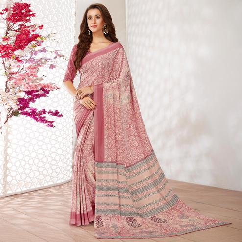 Innovative Pink Colored Casual Wear Printed Crepe Saree