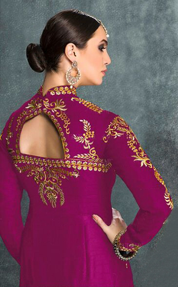 Dazzling Magenta High Neck Anarkali Suit