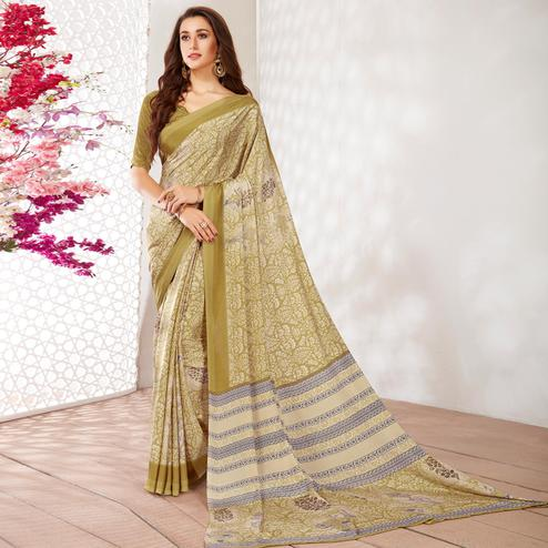 Fantastic Olive Green Colored Casual Wear Printed Crepe Saree