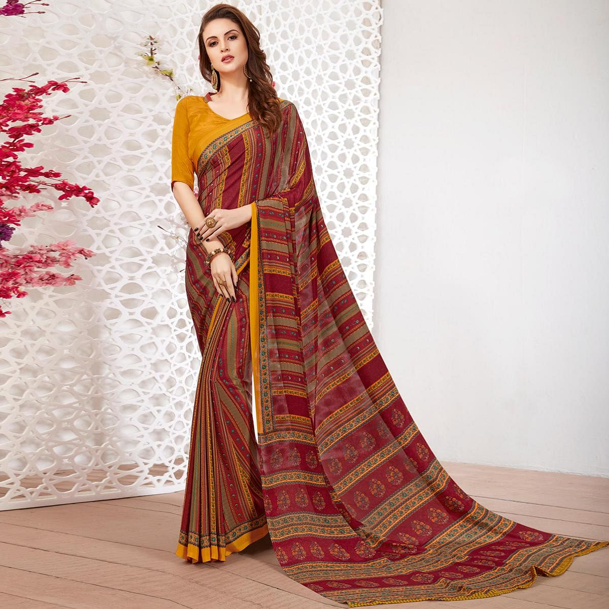 Amazing Maroon Colored Casual Wear Printed Crepe Saree