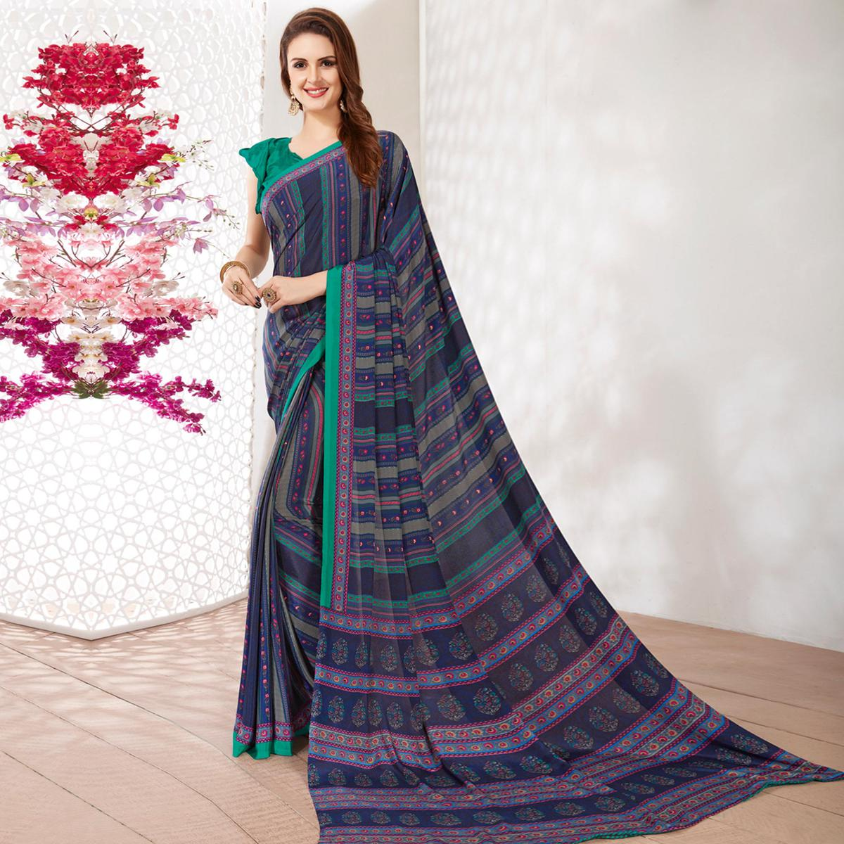 Blissful Navy Blue Colored Casual Wear Printed Crepe Saree
