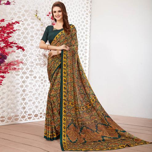 Lovely Brown Colored Casual Wear Printed Crepe Saree