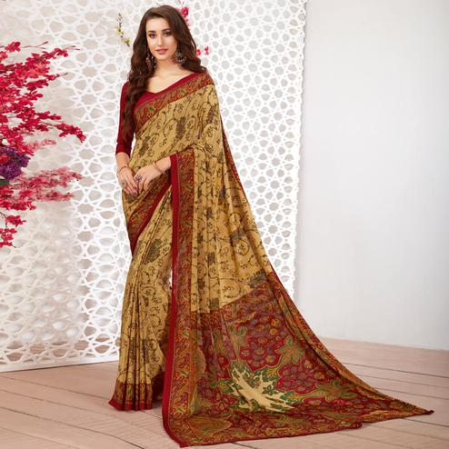 Impressive Beige Colored Casual Wear Printed Crepe Saree