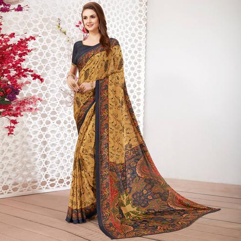 Mesmerising Beige Colored Casual Wear Printed Crepe Saree