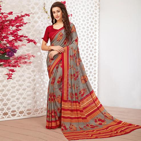 Pleasance Grey Colored Casual Wear Printed Crepe Saree