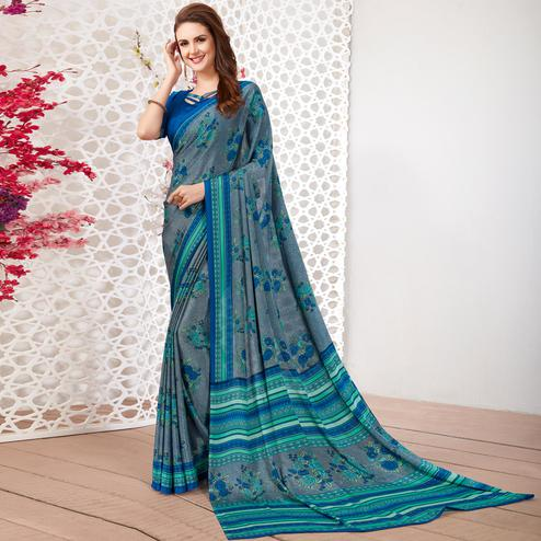 Breathtaking Grey Colored Casual Wear Printed Crepe Saree
