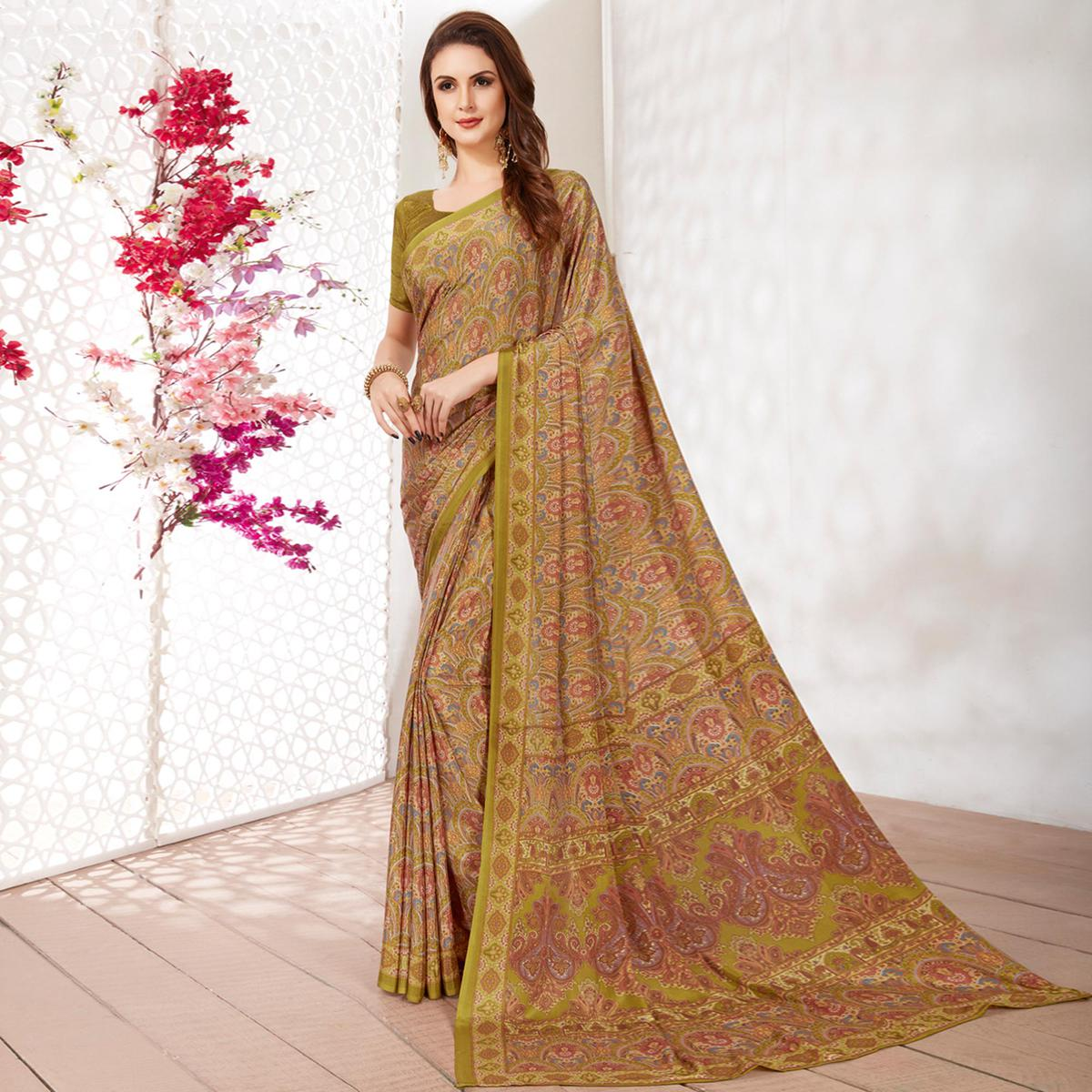 Ethnic Green Colored Casual Wear Printed Crepe Saree