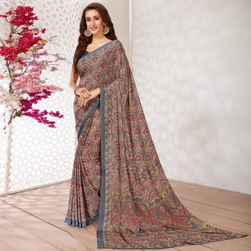 Ravishing Grey Colored Casual Wear Printed Crepe Saree