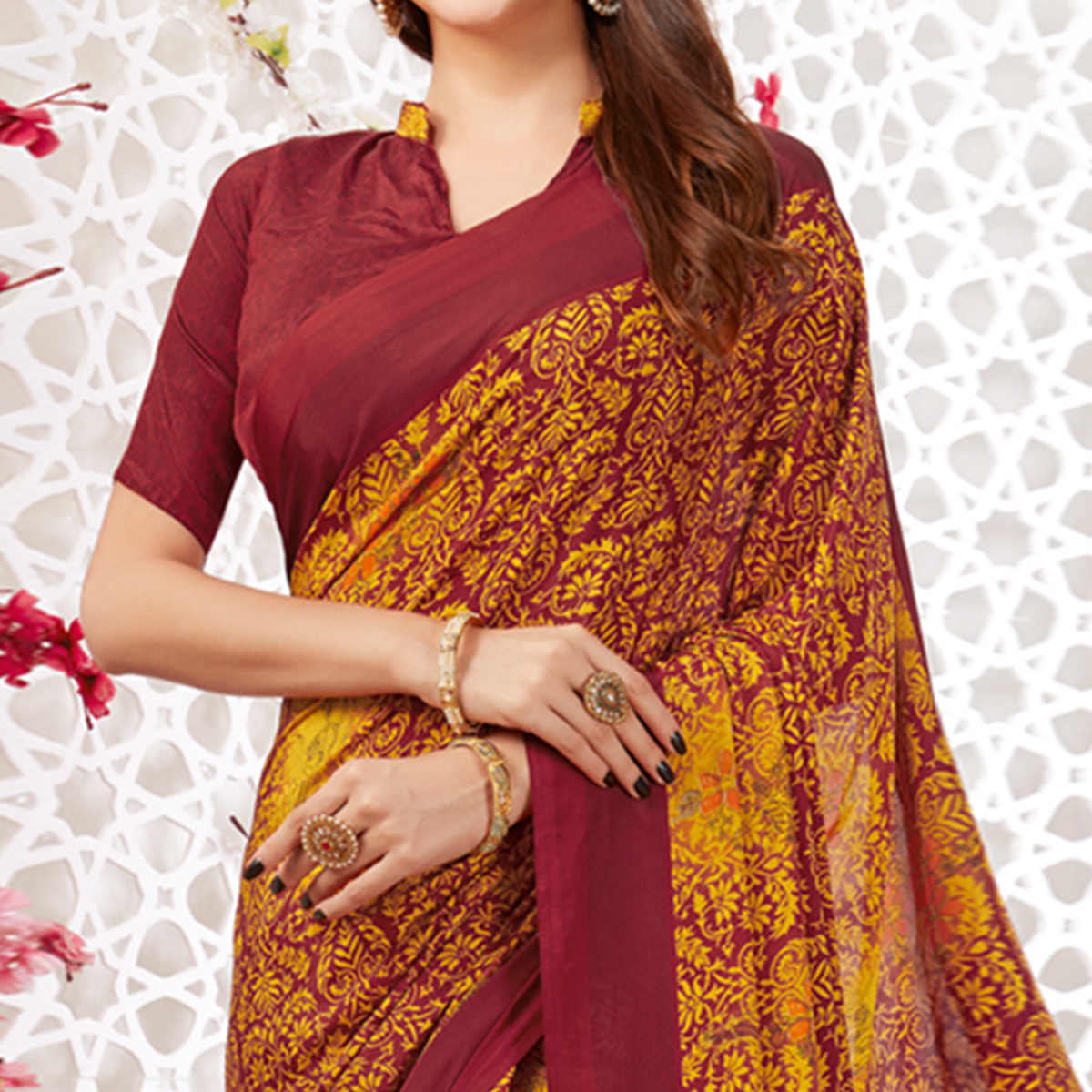 Staring Yellow-Maroon Colored Casual Wear Printed Crepe Saree