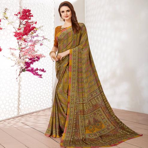 Surpassing Yellow-Green Colored Casual Wear Printed Crepe Saree