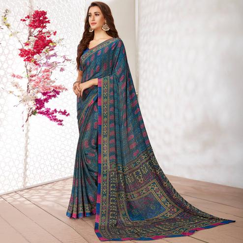 Demanding Blue Colored Casual Wear Printed Crepe Saree