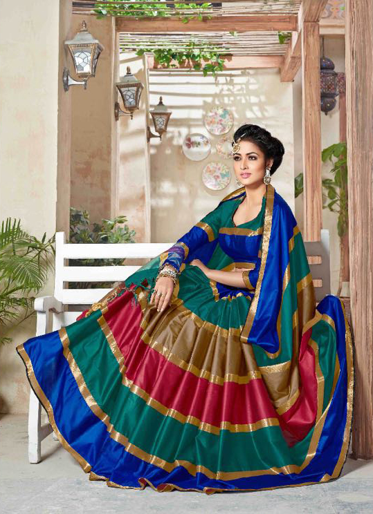 Multi Color Pure Cotton Silk Saree