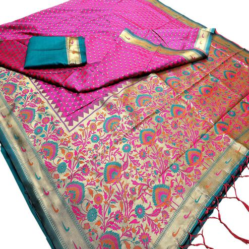 Flaunt Pink Colored Festive Wear Woven Banarasi Silk Saree With Tassel