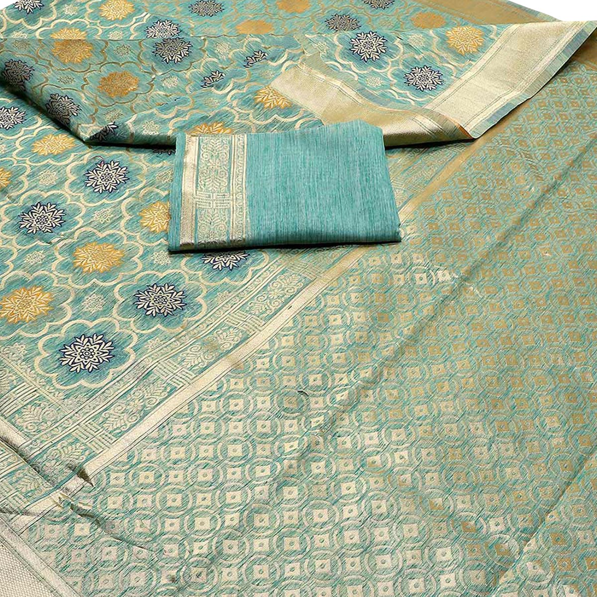 Unique Aqua Blue Colored Festive Wear Woven Banarasi Silk Saree With Tassel