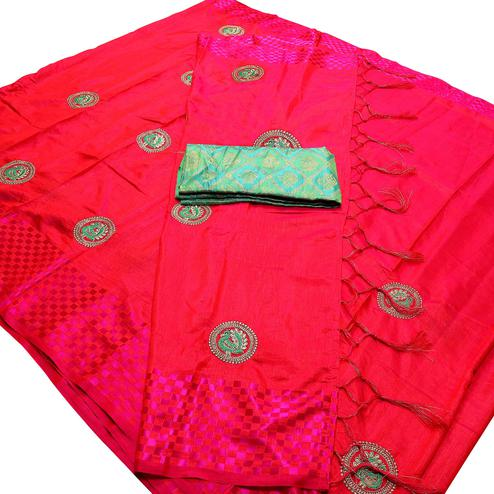 Intricate Fuchsia Pink Colored Festive Wear Peacock Embroidered Banarasi Silk Saree With Tassel