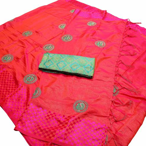 Arresting Dark Pink Colored Festive Wear Peacock Embroidered Banarasi Silk Saree With Tassel