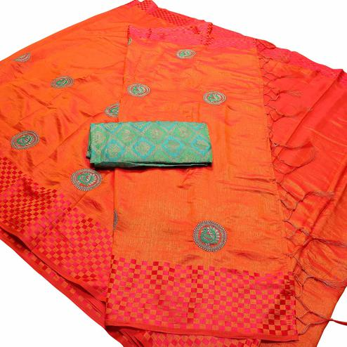 Classy Orange Color Festive Wear Peacock Embroidered Banarasi Silk Saree With Tassels