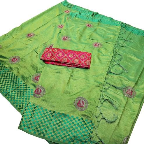 Groovy Green Color Festive Wear Peacock Embroidered Banarasi Silk Saree With Tassel