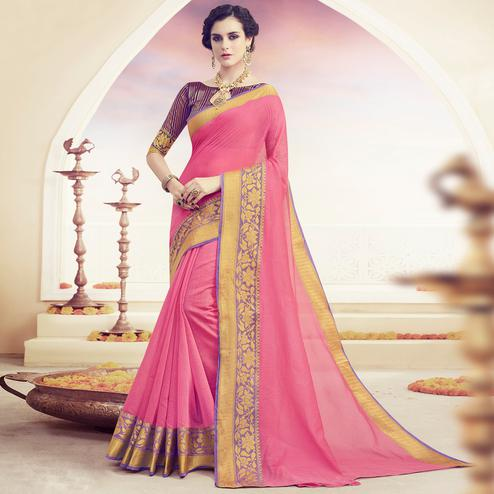 Fantastic Pink Colored Festive Wear Woven Cotton Saree