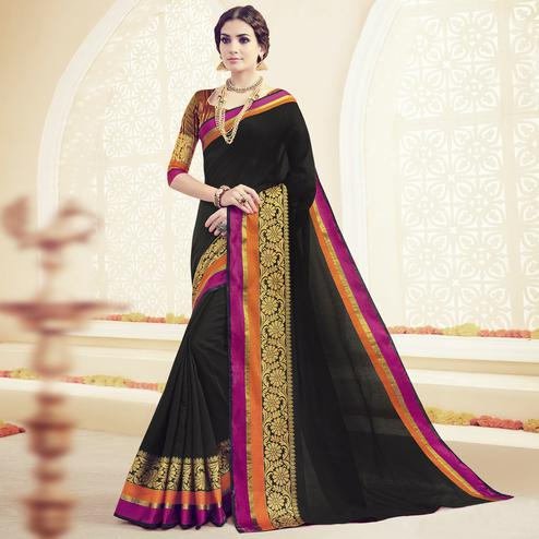Gorgeous Black Colored Festive Wear Woven Cotton Saree