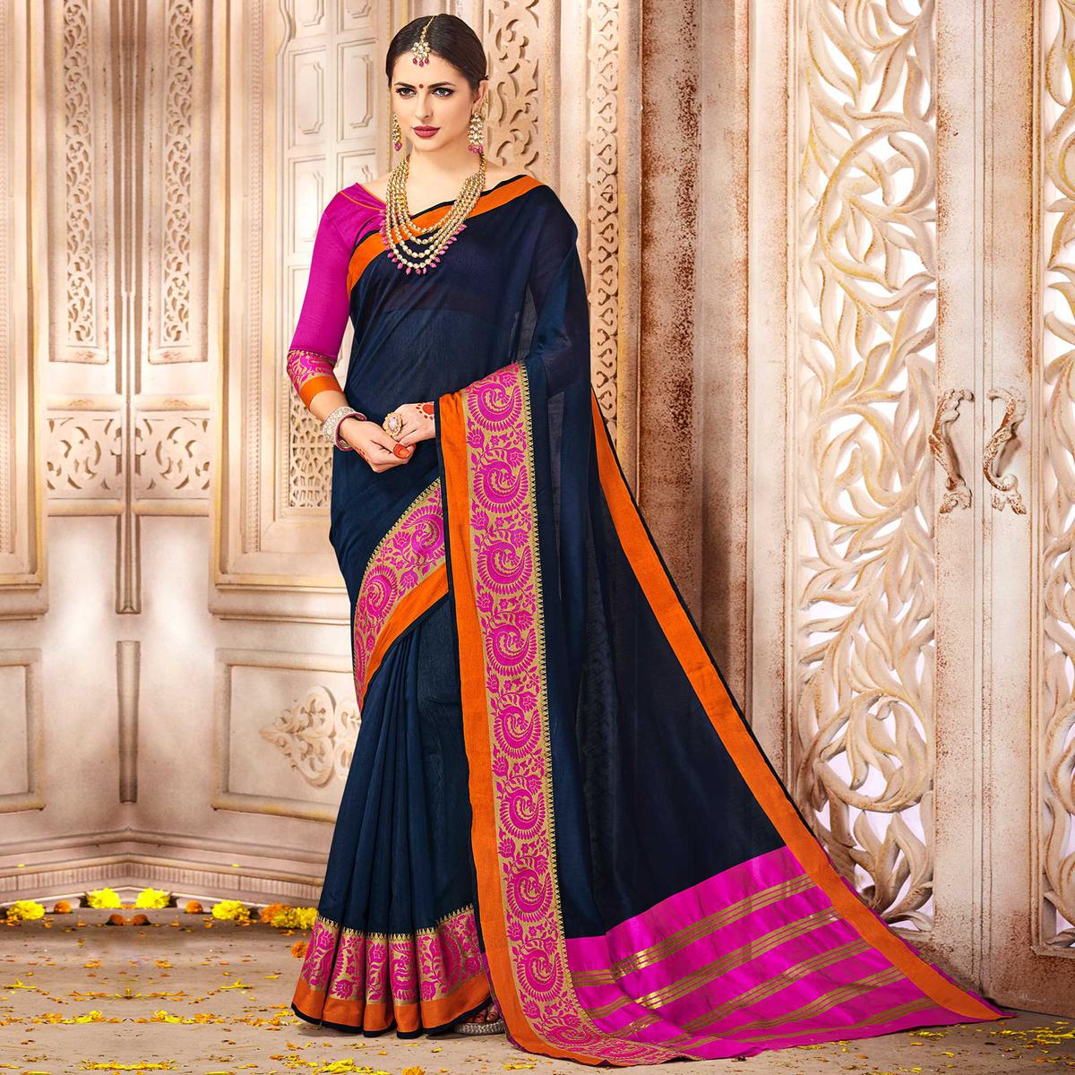 Ideal Navy Blue Colored Festive Wear Woven Cotton Saree