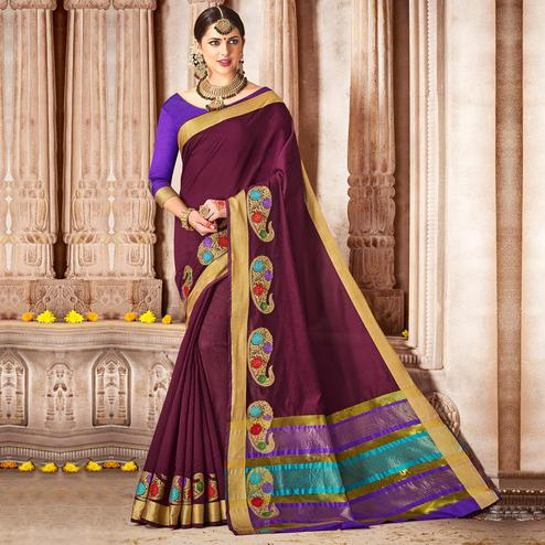 Imposing Dark Violet Colored Festive Wear Woven Cotton Saree