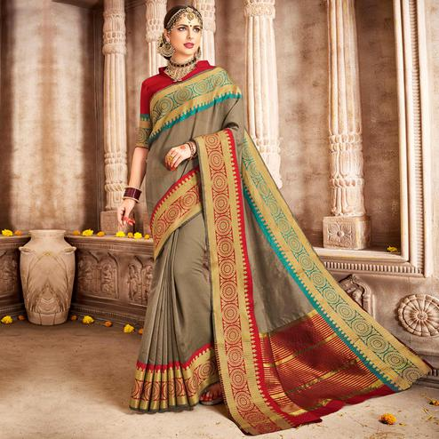 Majesty Chiku Colored Festive Wear Woven Cotton Saree