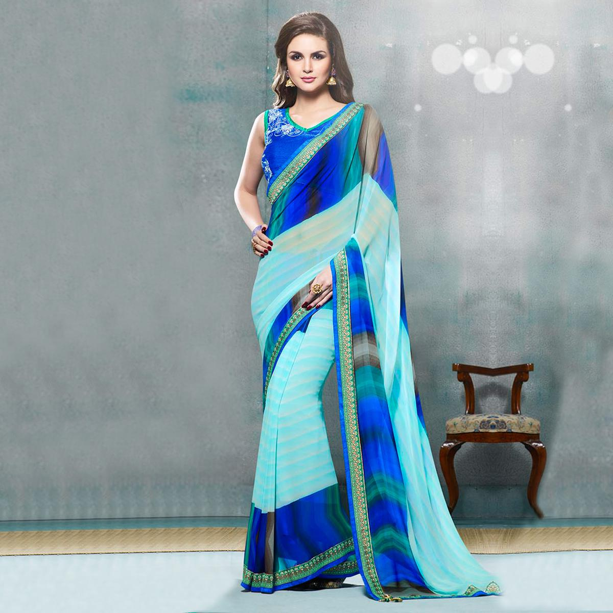 Blue Fancy Georgette Designer Saree