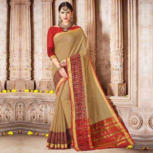 Hypnotic Beige Colored Festive Wear Woven Cotton Saree
