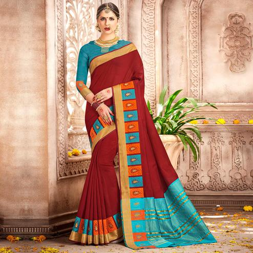Refreshing Red Colored Festive Wear Woven Cotton Saree