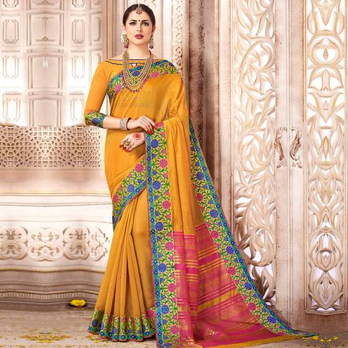 Unique Mustard Yellow Colored Festive Wear Woven Cotton Saree