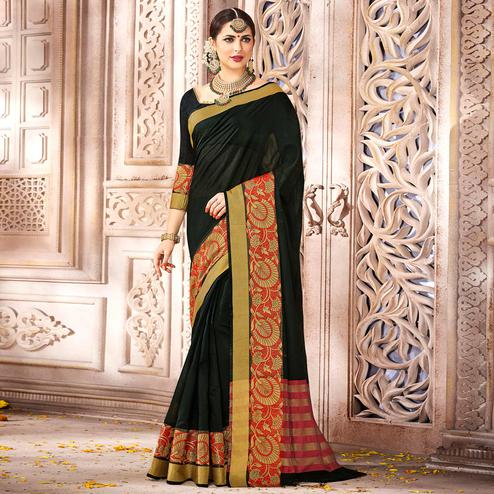 Gleaming Black Colored Festive Wear Woven Cotton Saree