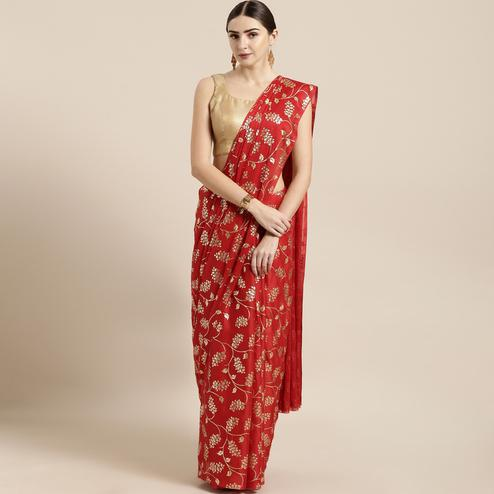 Fantastic Red Colored Partywear Foil Printed Georgette Saree