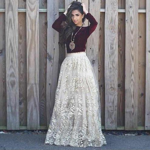 Amazing Maroon-White Colored Partywear Embroidered Velvet-Net Lehenga