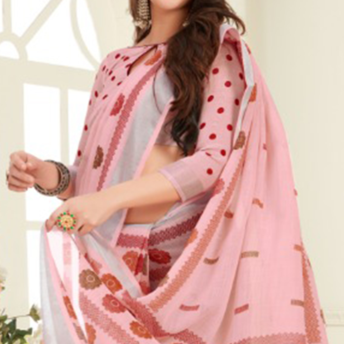 Arresting Peach Colored Casual Printed Linen Saree With Tassels