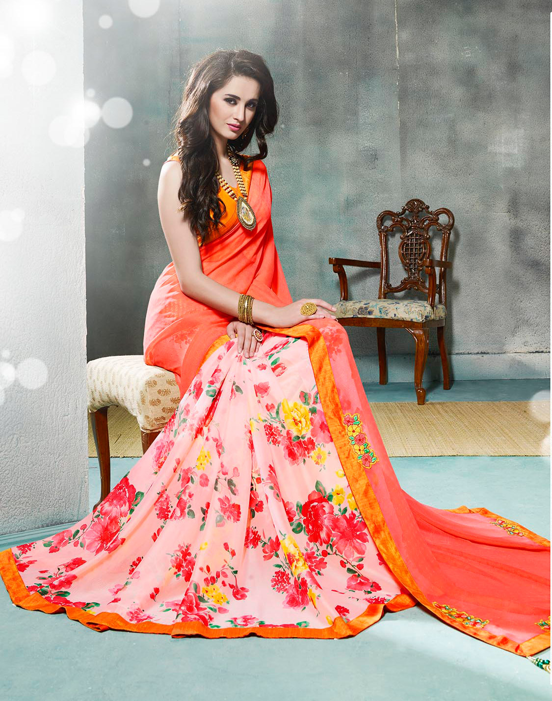Coral Red Fancy Georgette Half Saree